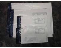 Envelope de  plástico correios com adesivos valores no Belém